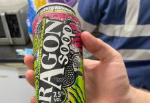 A photo of the Dragon Soop can - which Robbie's mum packed in his lunch box.