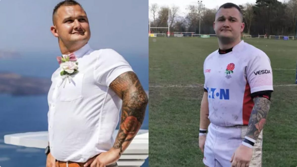 Photos of Ashley Mooney - who suffered the terrible rugby injury - that accompany his GoFundMe campaign