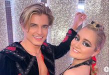Tilly Ramsay and partner Nikita pose after their Paso Doble
