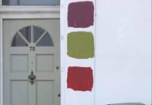 A photo of the house, which the residents have left a public poll outside of, to help decide the new colour for their exterior walls.