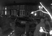 CCTV screenshot of the man urinating into a garden fountain