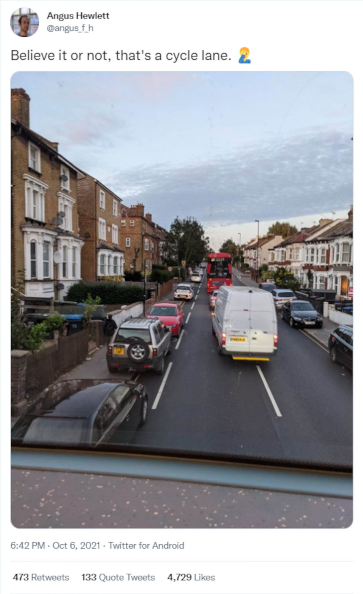 Angus Hewlett bike lane tweet