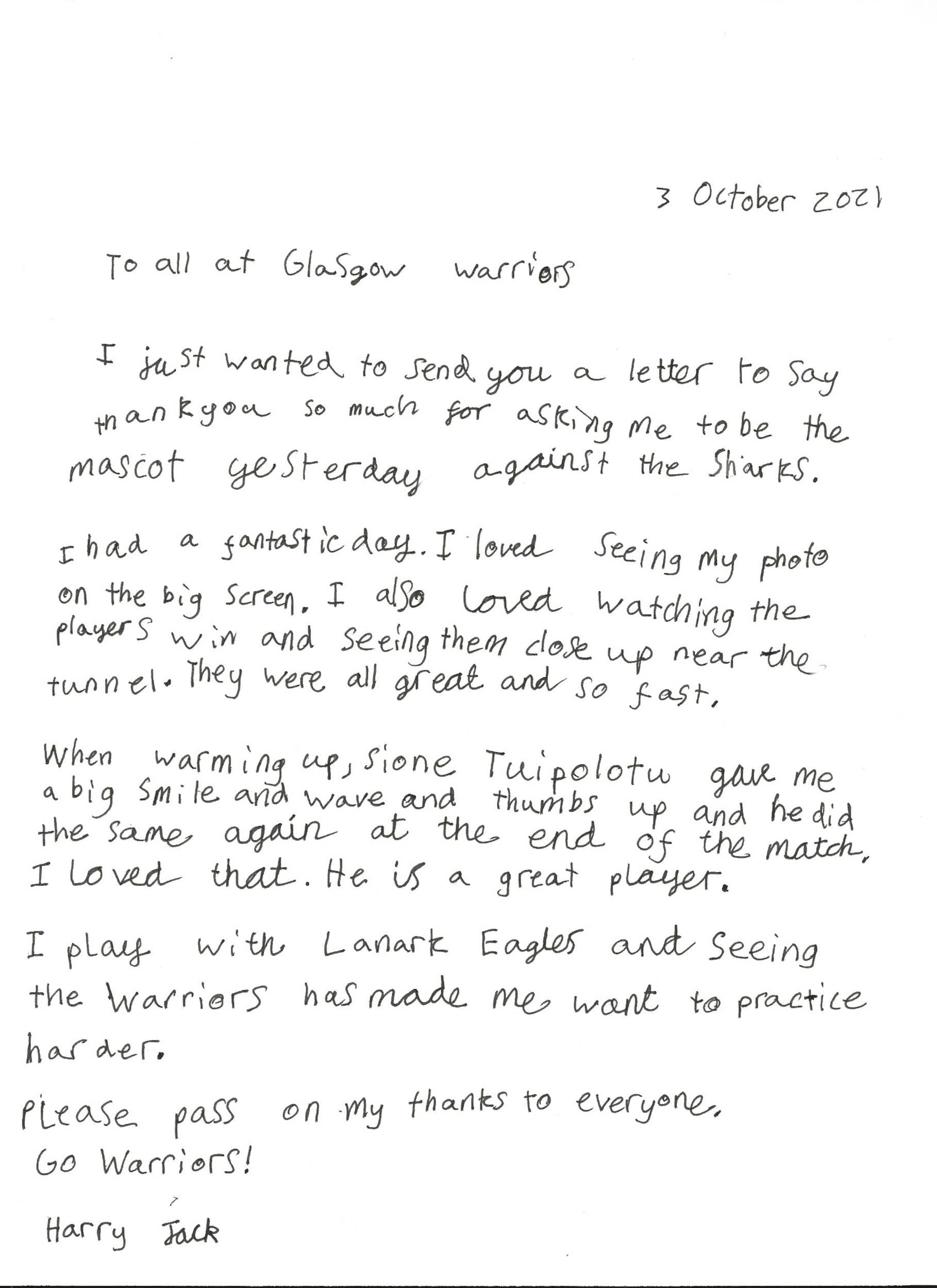 Harry Jack's heartwarming handwritten letter to Glasgow Warriors