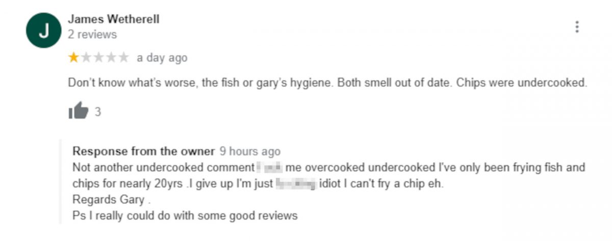 Review questioning the Chippy owner's hygiene