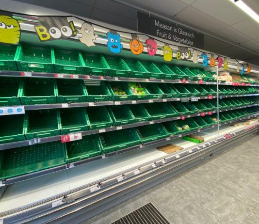 Empty shelves in the Co-op