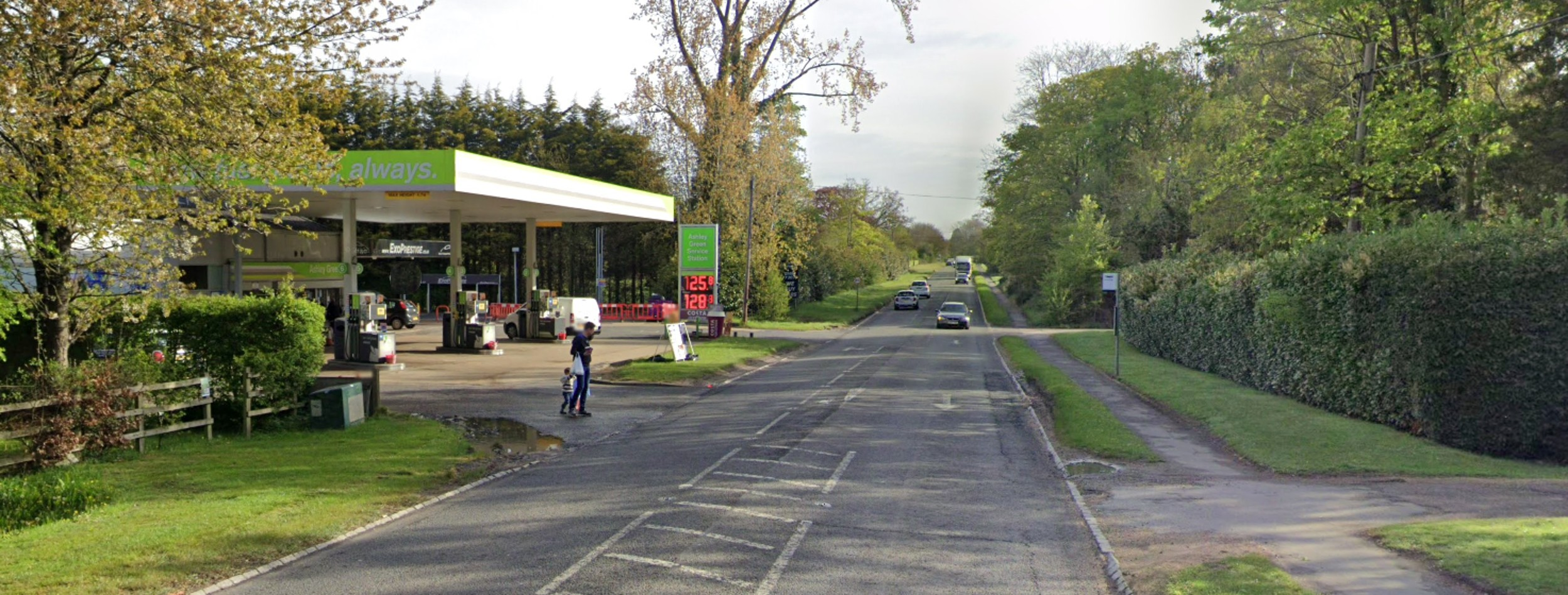 Applegreen Service Station in Chesham, Buckinghamshire, where the video was captured of the vehicles overtaking the traffic on the path.