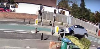 A screenshot of one of the cars crashing on Woodmere Avenue in Watford.